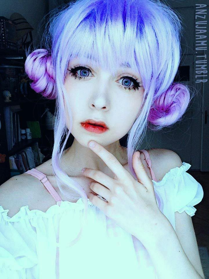 Kawaii purple violet double buns hair with front bangs