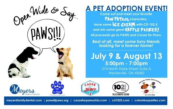 Come Meet Our Pups On July 9th Causeforpawsohio Com With Images Pet Adoption Event Paw Patrol Characters Puppy Adoption