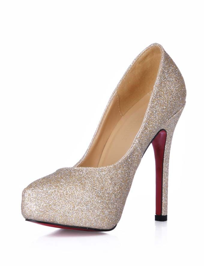 861124048915 4 1 3 Heel Height 2 5 Platform Gold Sequin Paillette Red Bottom Shoes  Highheels