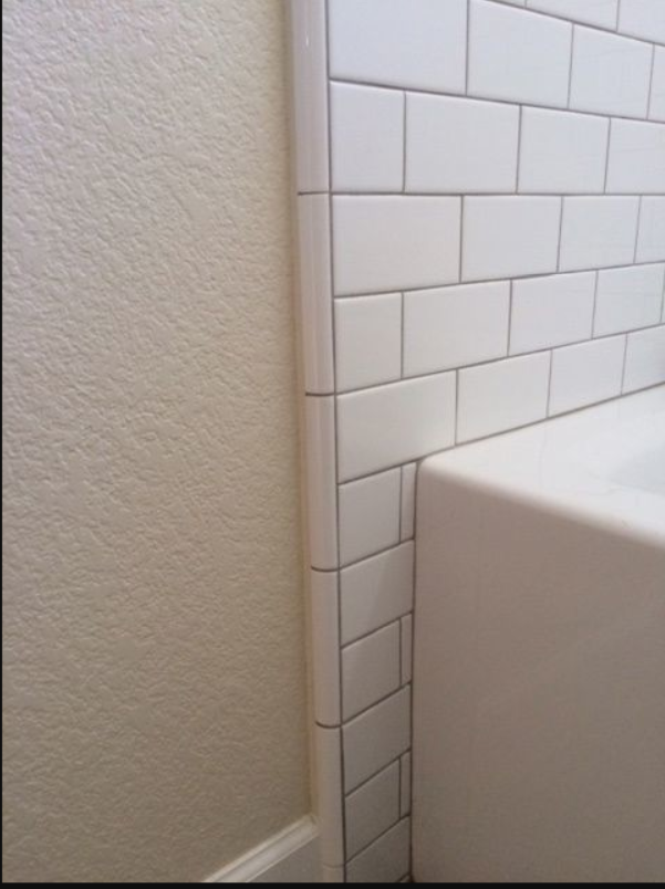 quarter round trim ending tile to wall