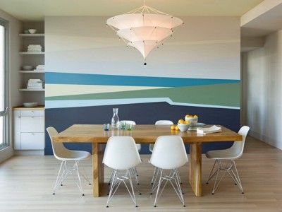 Modern Dining Room With Abstrac Wall Mural Dining Room Murals Modern Dining Room Dining Room Design