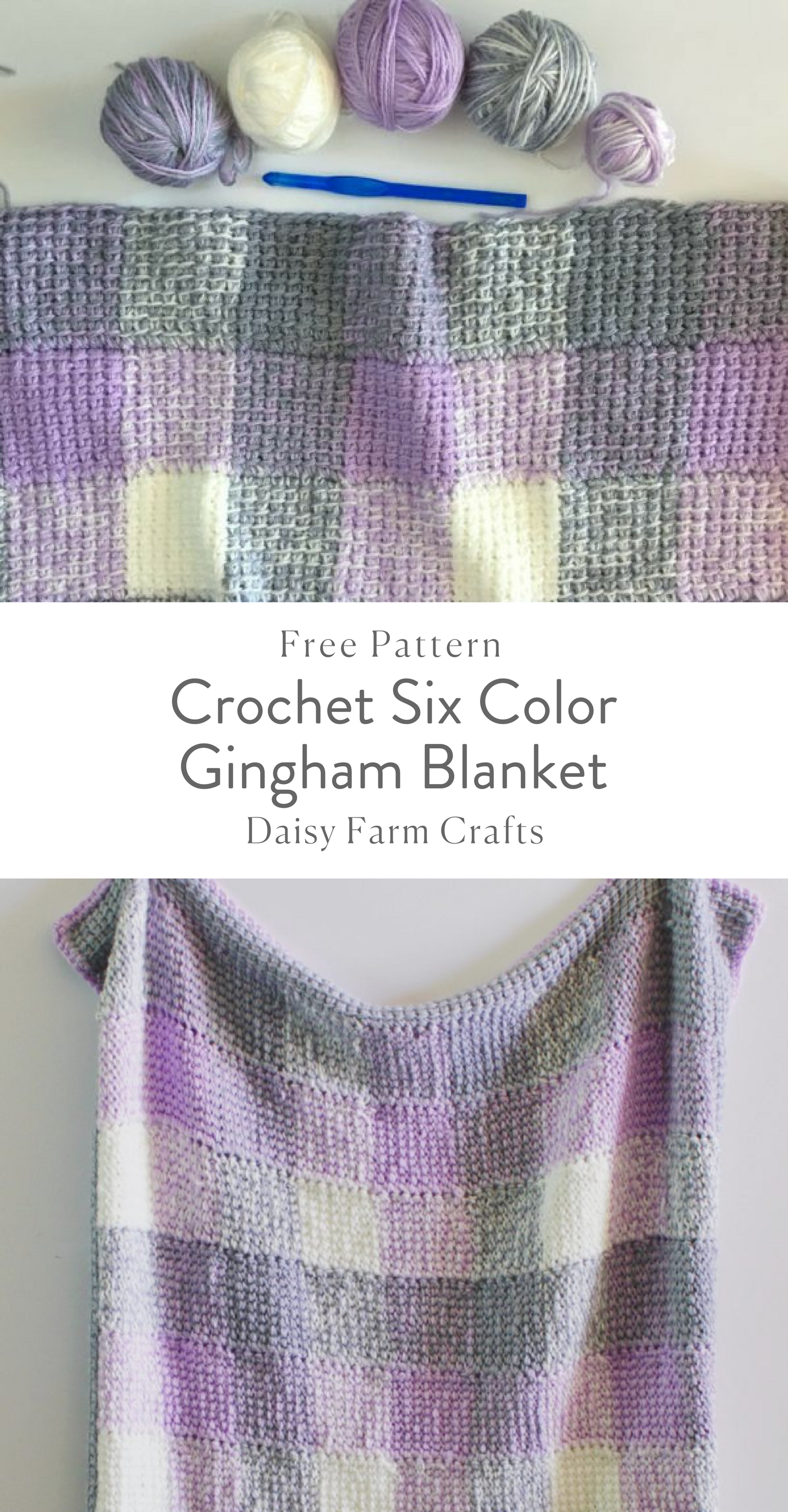 Free Pattern Crochet Six Color Gingham Blanket Crochet For Beginners Blanket Crochet Blanket Patterns Afghan Crochet Patterns
