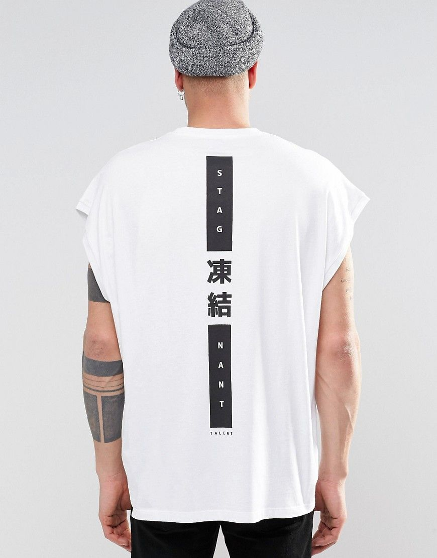 85701e678 ... men white shirts for 2019. Image 1 of ASOS Super Oversized Sleeveless T- Shirt With Japanese Text Spine Print
