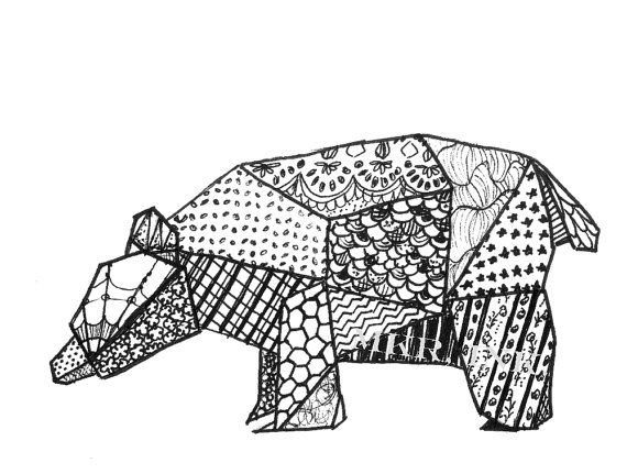Origami Bear 85X11 Digital Print Of A Pen And Ink By MKRInk 1200