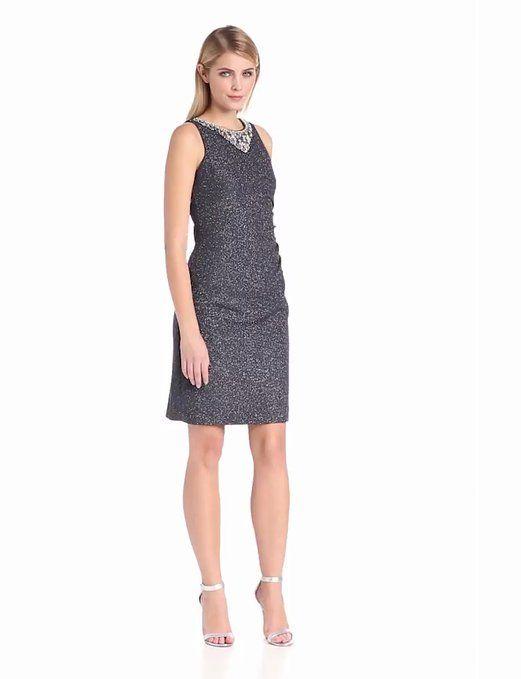 49d1647ed0fe Eliza J Women's Sleeveless Beaded Side Gathered Sheath Dress, Gray ...
