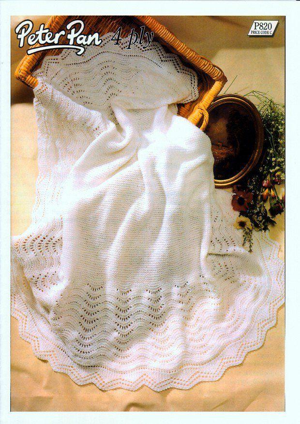 Peter Pan 4ply Knitting Pattern Babies Pram Blanket