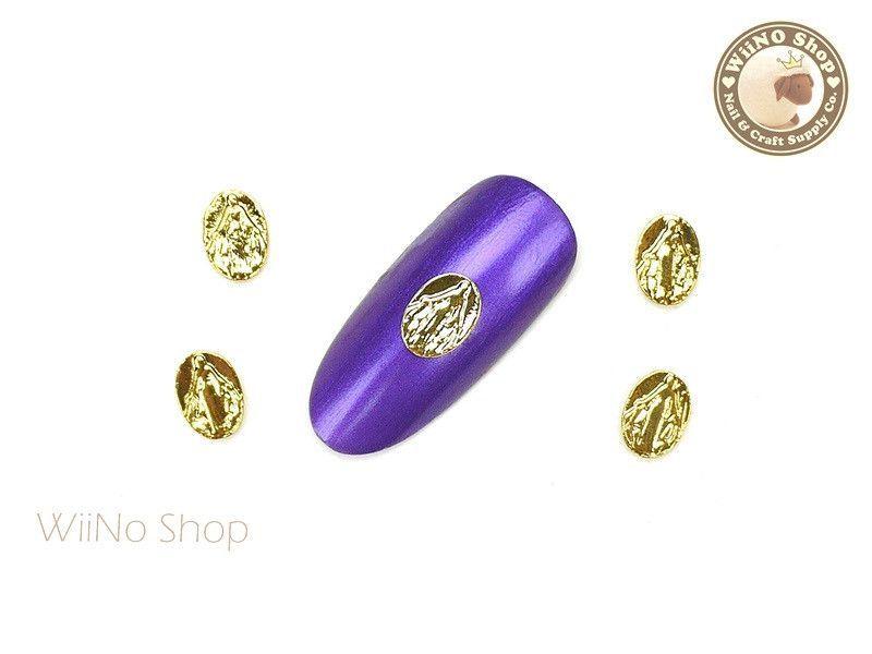 Gold Miraculous Oval Medal Nail Metal Charm - 2 pcs