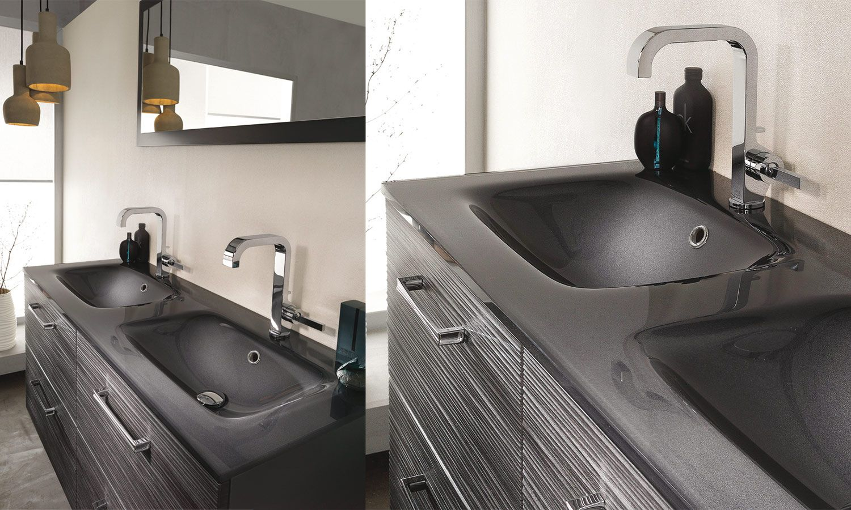 Plan verre double vasque Unique Onde Delpha | Salle de bain ...