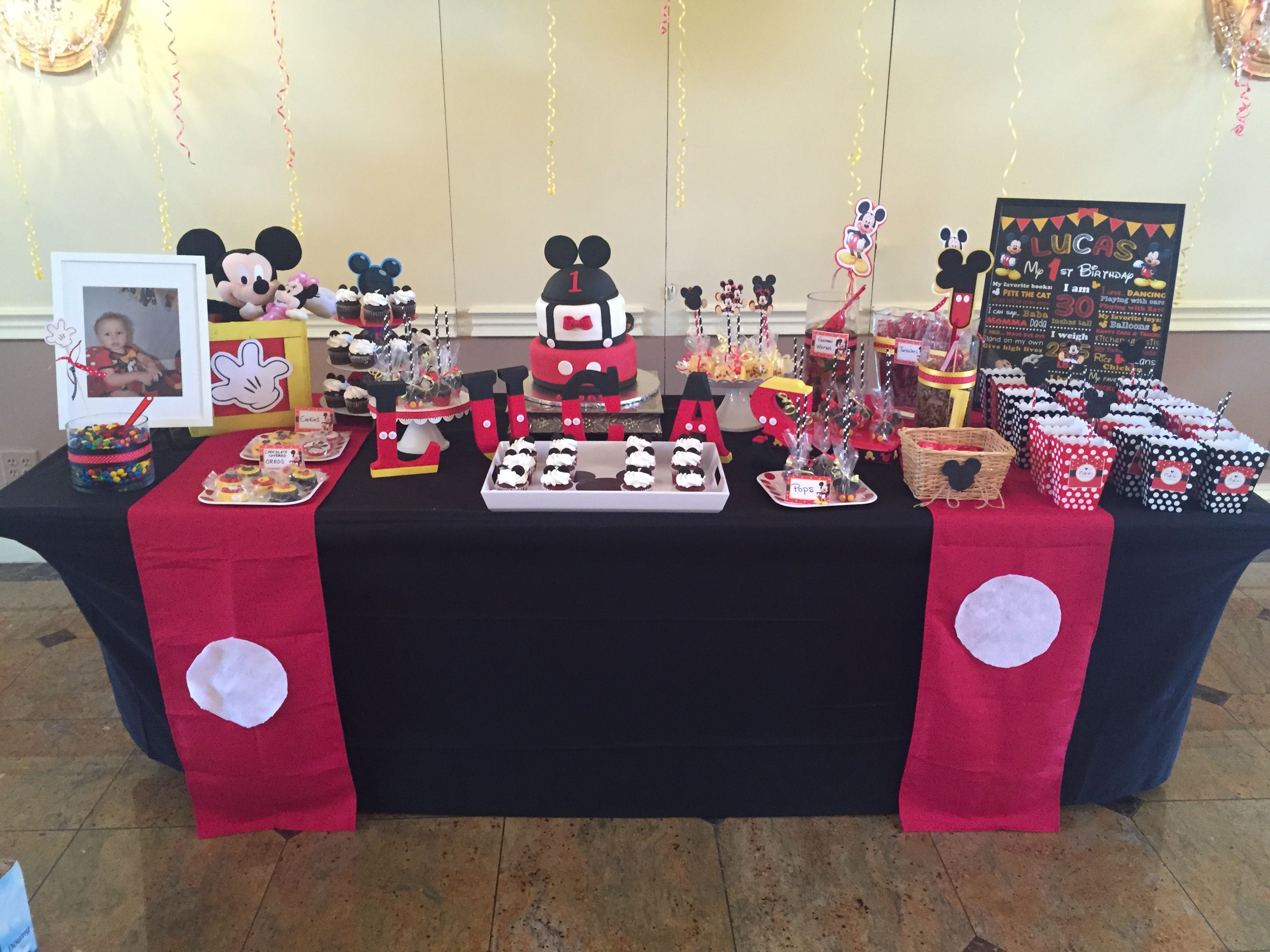 Mickey Mouse Birthday Cake And Candy Table Ideas Mickey 1st Birthdays Mickey Mouse Birthday Birthday Candy Table