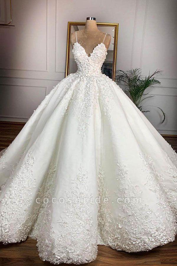 Spaghetti Strap Appliques Satin Wedding Dress Online for Sale |  #cocosbride #weddingtime #bridetobe #longsleeve #court #train #tulle #aline #dress #weddingdress