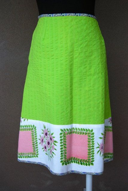 green cotton aline knee length skirt vintage by Rustyeggwhisk, $35.00