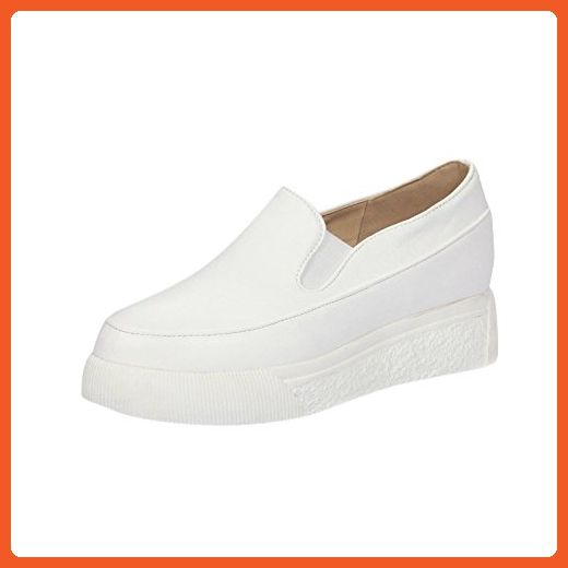 7a5d5b17e3e05 Charm Foot Women's PU Leather Platform Penny Loafers Shoes (8, White ...