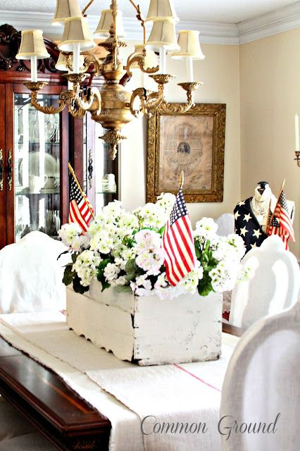 add flags to planter boxes @ Common Ground dining room