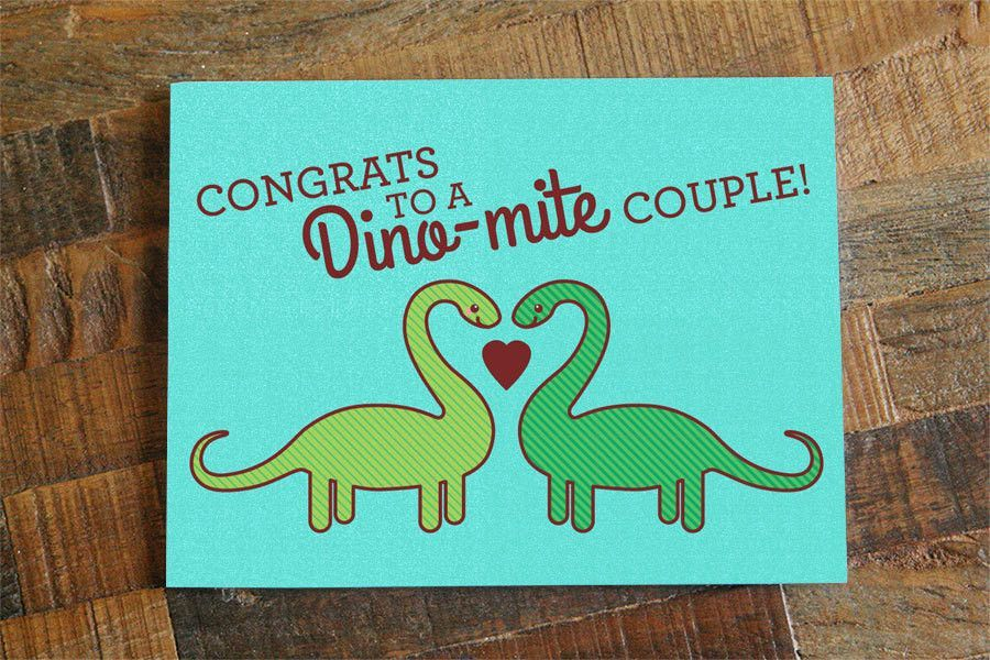 funny wedding card messages for friends%0A Congrats to a Dinomite Couple  u     Cute Wedding Dinosaur Card