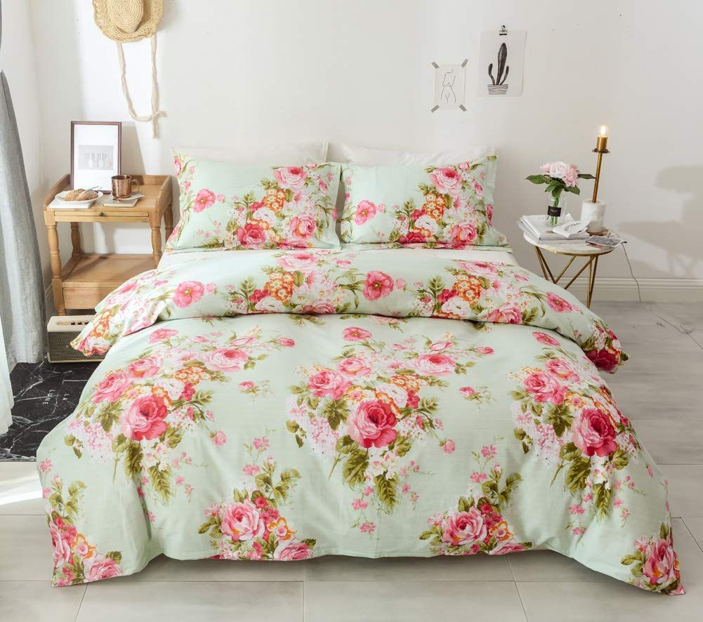 NEW Pink Floral Flowers Printed Reversible Bedding Duvet Set All Sizes