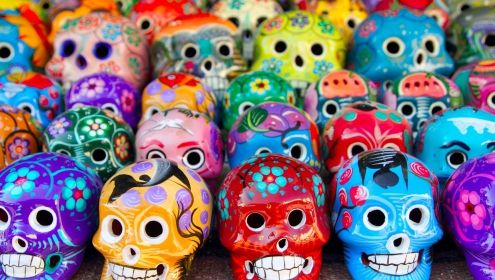 Mexican Day of the Dead decorative skulls.