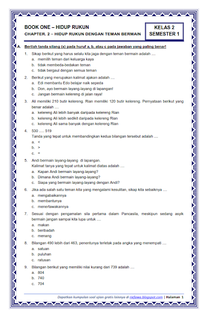 Soal Kelas 3 Tema 1 Subtema 2 : kelas, subtema