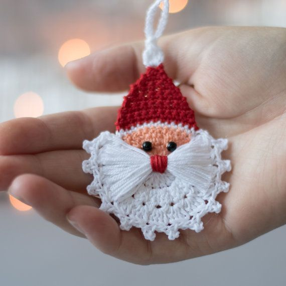 Crochet Christmas ornaments, Crochet Christmas decoration,Crochet set of 3 ornaments, Rudolph reindeer, Christmas tree and crochet Santa.  These lovely Christmas ornaments are hand crocheted with high-quality cotton thread in smoke-free and pet-free environment whit great attention to details. Reindeer- Width- 2.7  (7 cm), Height-2.7  (7 cm) Christmas tree - Width- 2.4  (6 cm), Height-2.7  (7 cm) Santa- Width- 2.4  (6 cm), Height-3.1  (8 cm)  This Christmas decoration is starched and arrives ...