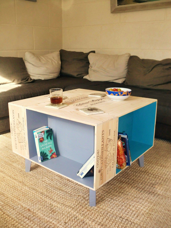 Table Basse Avec Caisse A Vin table basse fait main avec caisses de vin et pieds compas