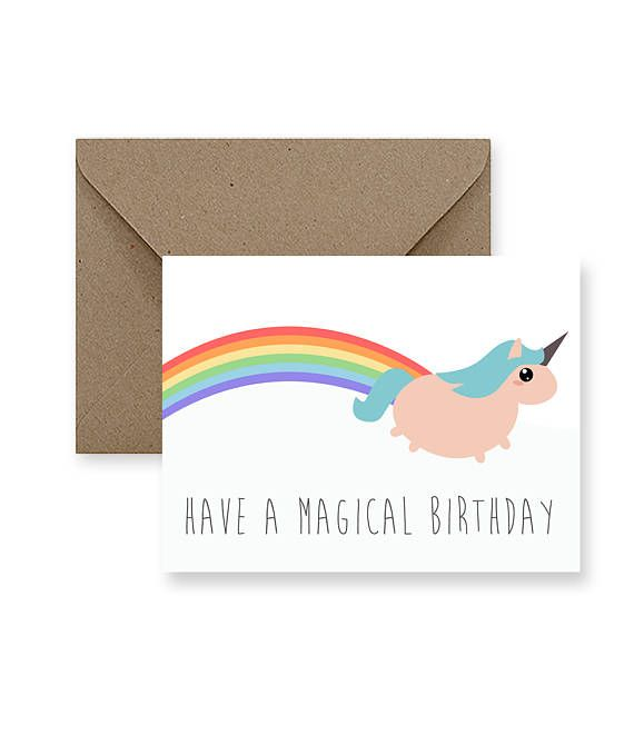 Funny Birthday Card Cute Birthday Card Cool Birthday Card Unicorn