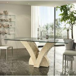 Photo of Mesa de comedor de vidrio con base de piedra basilicana beige en forma de V