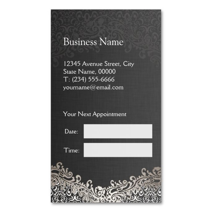 Elegant Silver Damask - Hair Stylist Appointment Double-Sided - sample appointment card template