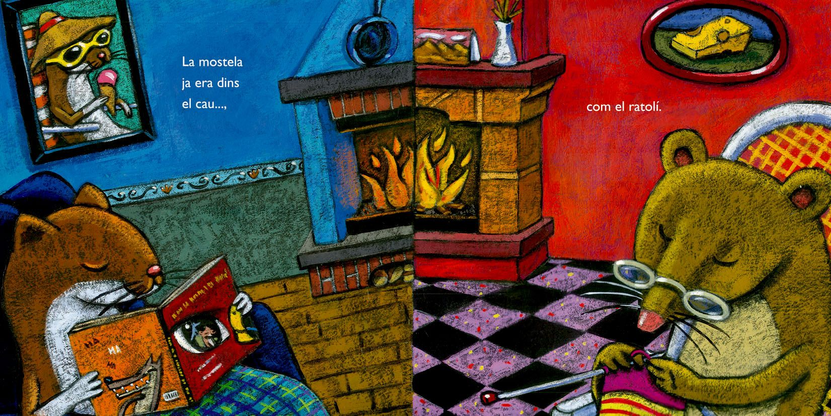 "Ilustración para el álbum infantil inédito ""El llop, la mustela i el falcó"""