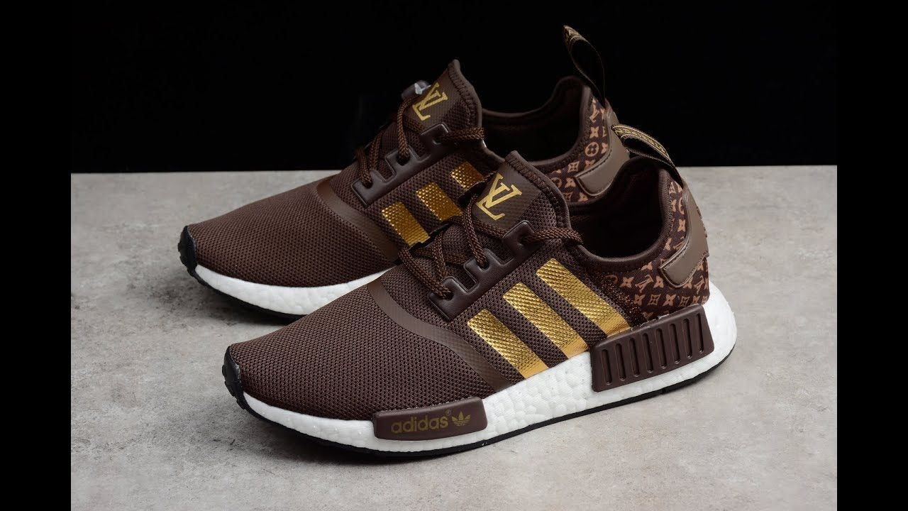 Louis Vuitton x Adidas NMD_R1 Chocolate gold from www.kicks-vogue.com