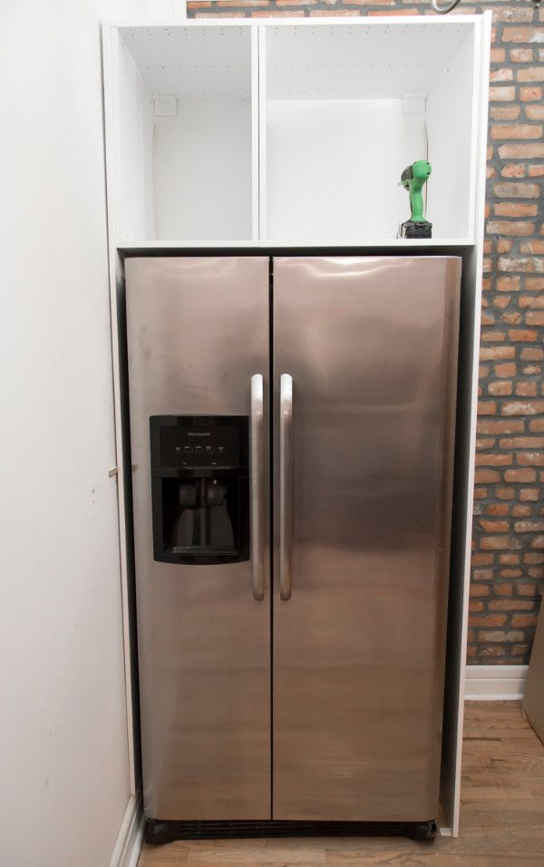 Sektion Hack The Existing Refrigerator Was Significantly Wider Than What Ikea Over Fridge Cabinets Were Designed For So We Fastened Two 30 Wide