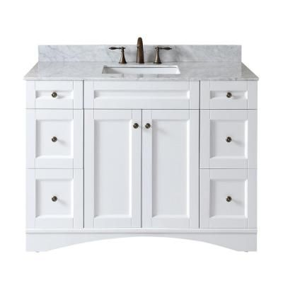 Virtu Usa Elise 49 In W Bath Vanity In White With Marble Vanity
