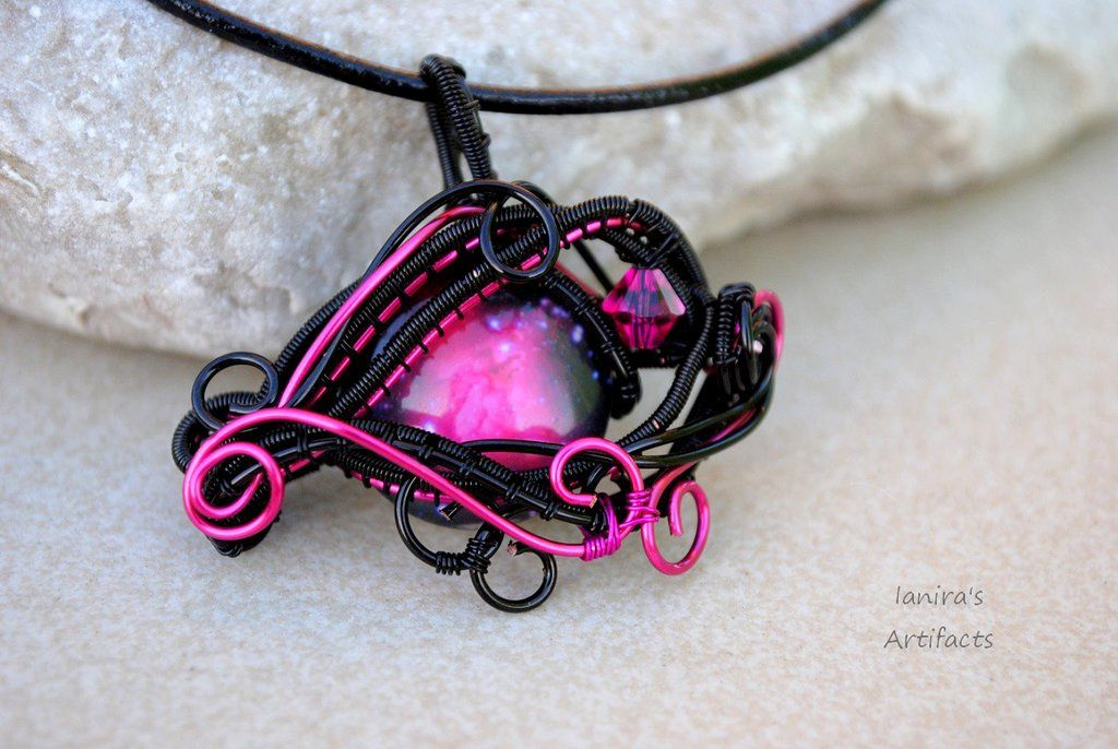 Fuchsia space eye wire wrapped pendant by ianirasartifacts unique fuchsia space eye wire wrapped pendant by ianirasartifacts aloadofball Gallery
