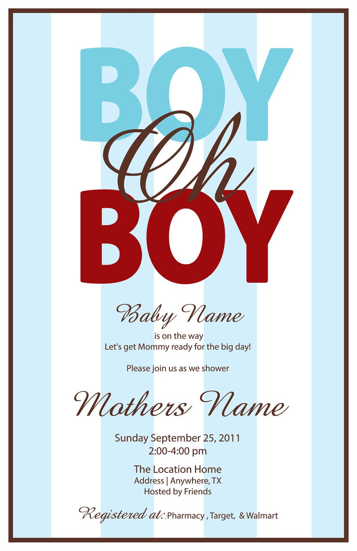 Boy Oh Boy Printable Baby Invitation Digital by LeeshaLooDesignz ...