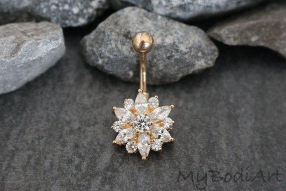 251b17f42 Janie Swarovski Crystal Flower Belly Button Ring Stud in 2019 ...