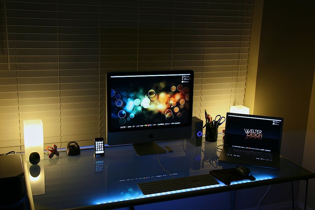 Dazzling Colored Lighting Effects Using Led Strips Home Office Setup Workstation Led Strip