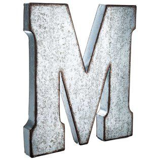 Large Metal Letter M Large Galvanized Metal Letter  M Craftycrocodile Httpwww