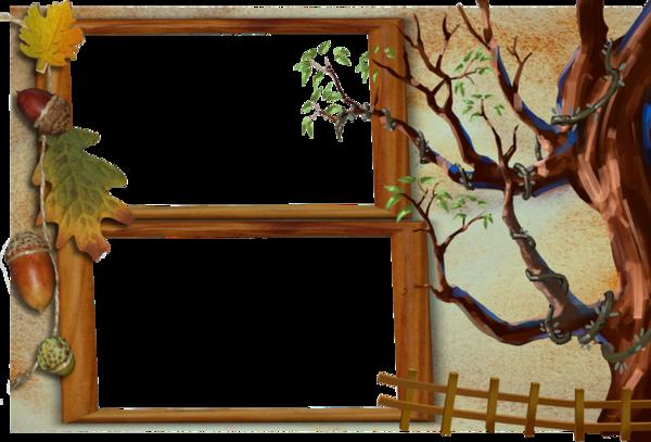 cadre automne autumn frame cluster sur fond