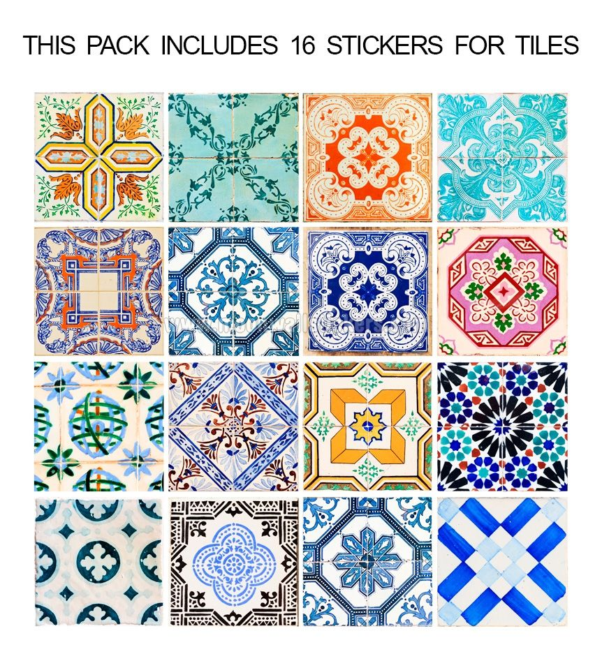 Azulejos espa oles tradicionales pegatinas caja de 32 espa ol arte y pisos - Pegatinas para azulejos ...