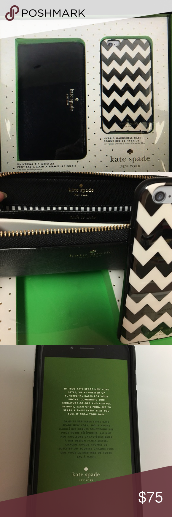 NIB Kate Spade NY IPHONE 6/6P Case and Wristlet ♠️ Wristlet and flexible hardshell case for iPhone 6 and 6+ the zip wristlet provides a convenient place to stash your phone along with your ID credit cards and some cash all in a beautiful gift box kate spade Accessories Phone Cases
