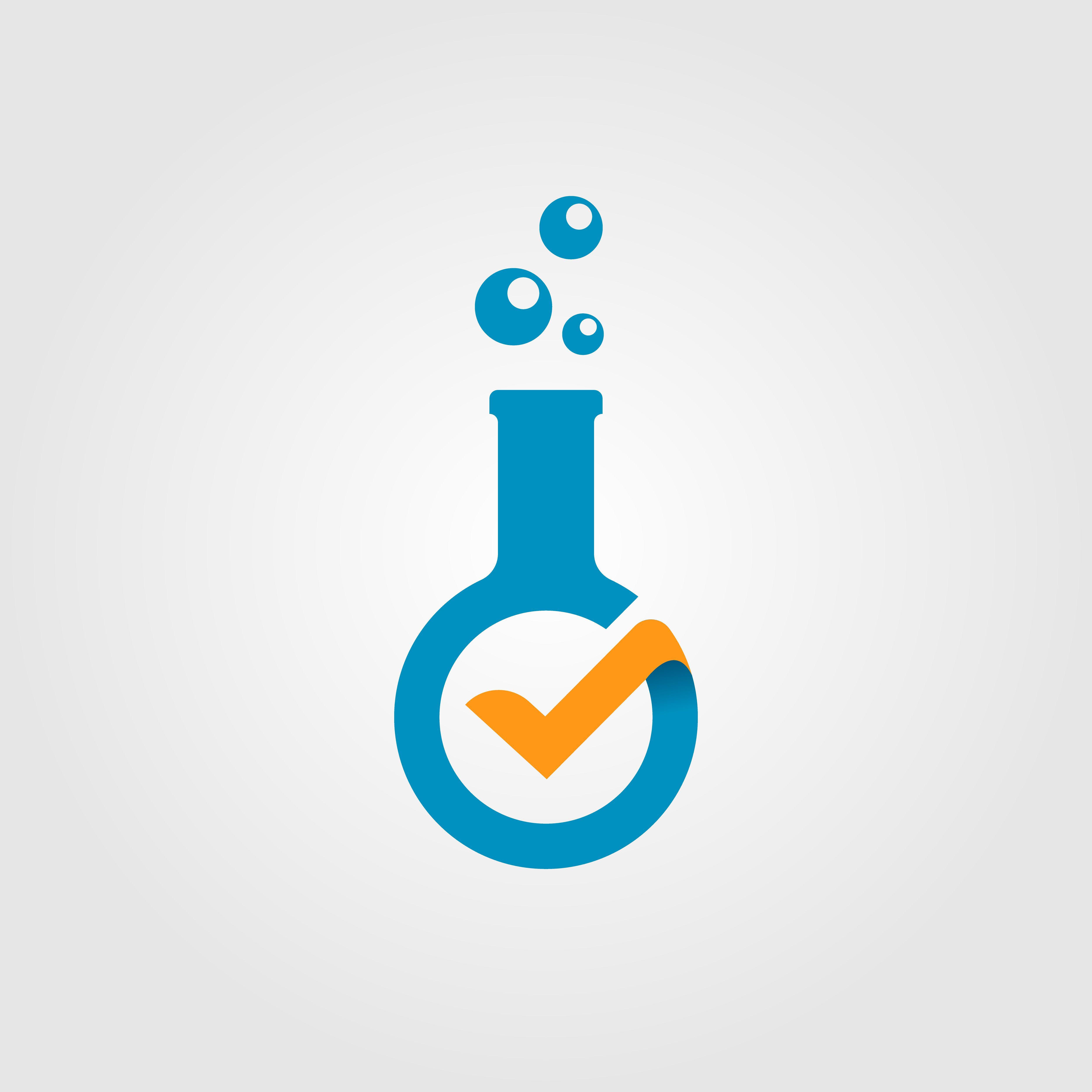 check, laboratory, verified, modern, logo, vector, icon