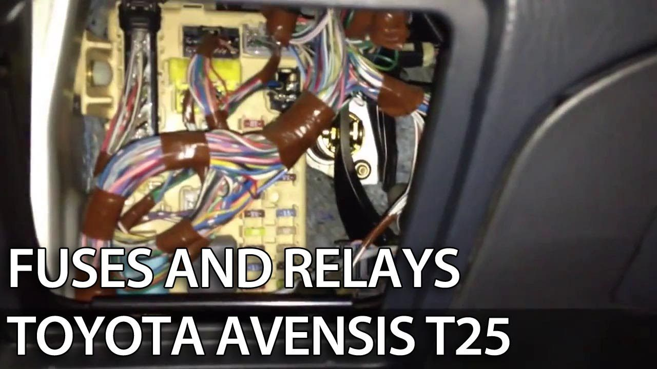 where are fuses and obd port in toyota avensis ii 2003 2009 t25 diagnostics relays obd2  [ 1280 x 720 Pixel ]