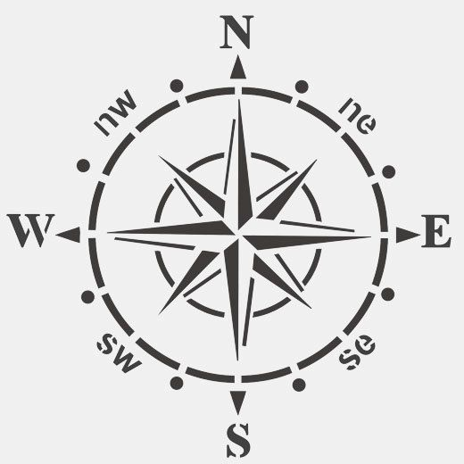 Ships compass STENCIL, home NAUTICAL DECOR, painting