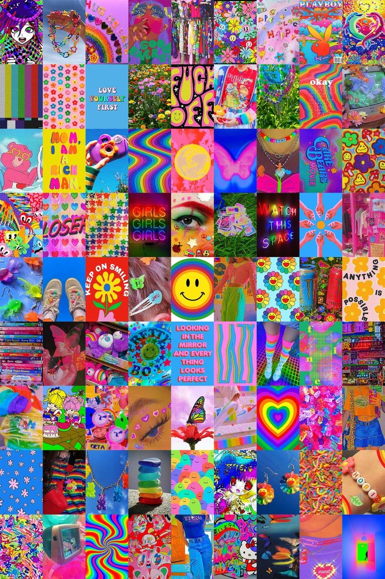 Indie Collage Kit (Digital Download) 81 PCS, Kidcore Aesthetic Wall Collage Kit, Indie Room Decor, Y2k Wall Decor, Retro Photo Wall Collage