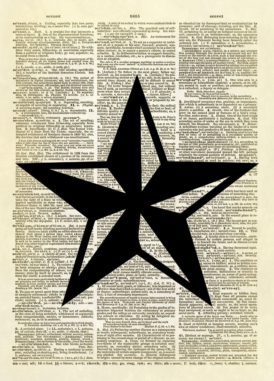 This Print Features A Two Toned Five Pointed Star Symbol Of The