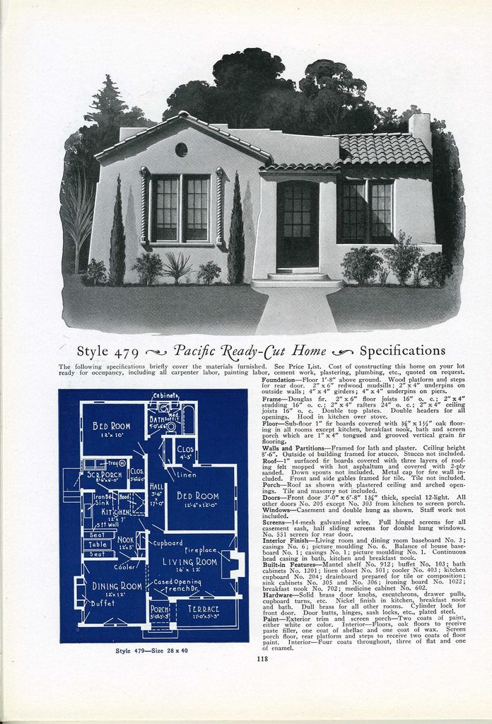 479 House Plans With Pictures Vintage House Plans Spanish Bungalow