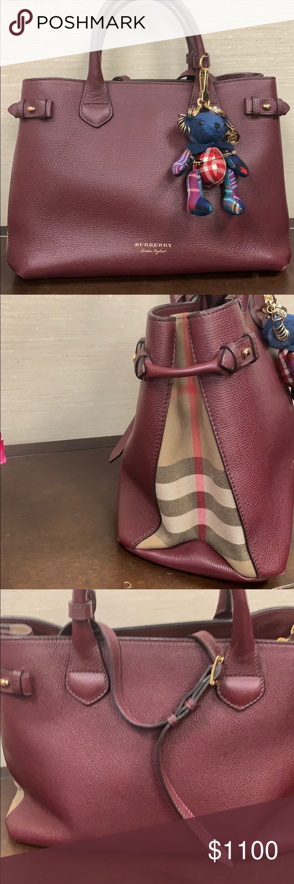 ec5017663a0 Burberry Medium Banner Leather tote in Burgundy Medium tote with four  inside compartments for storage.