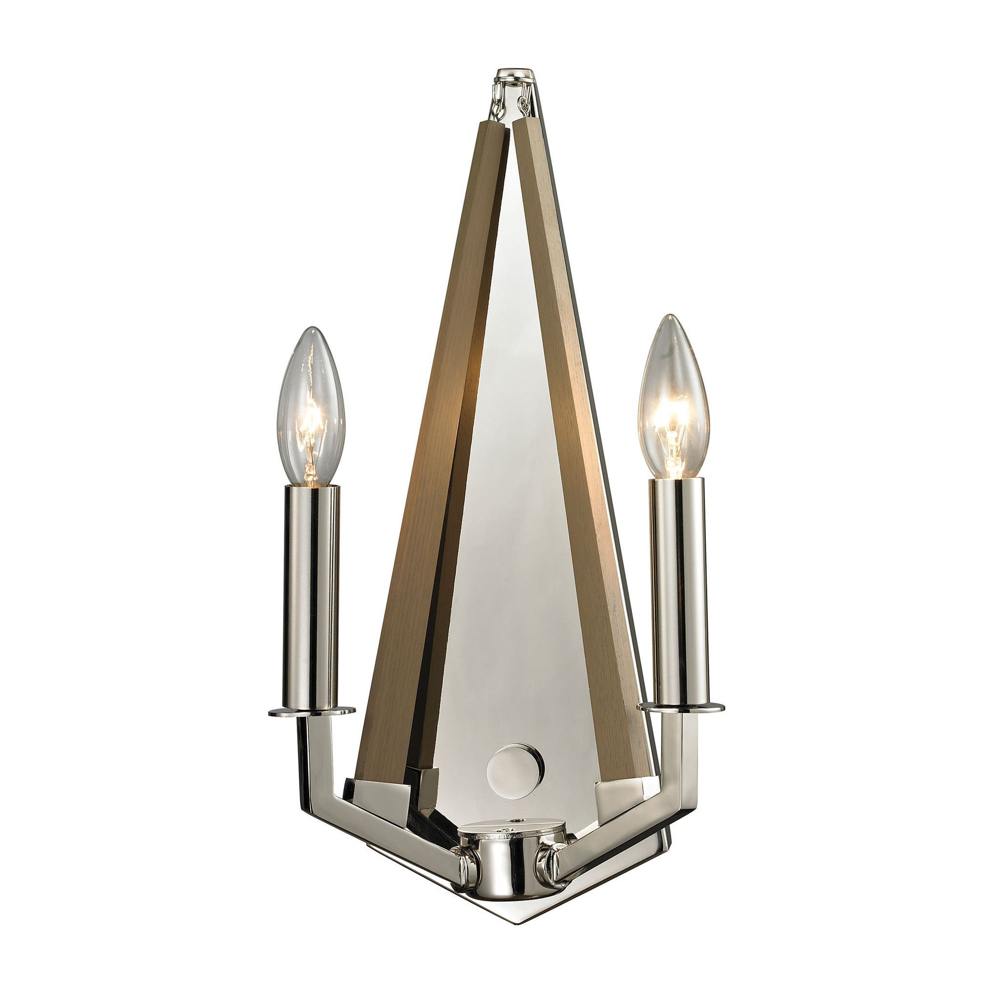 Madera light sconce in polished nickel and natural wood elk