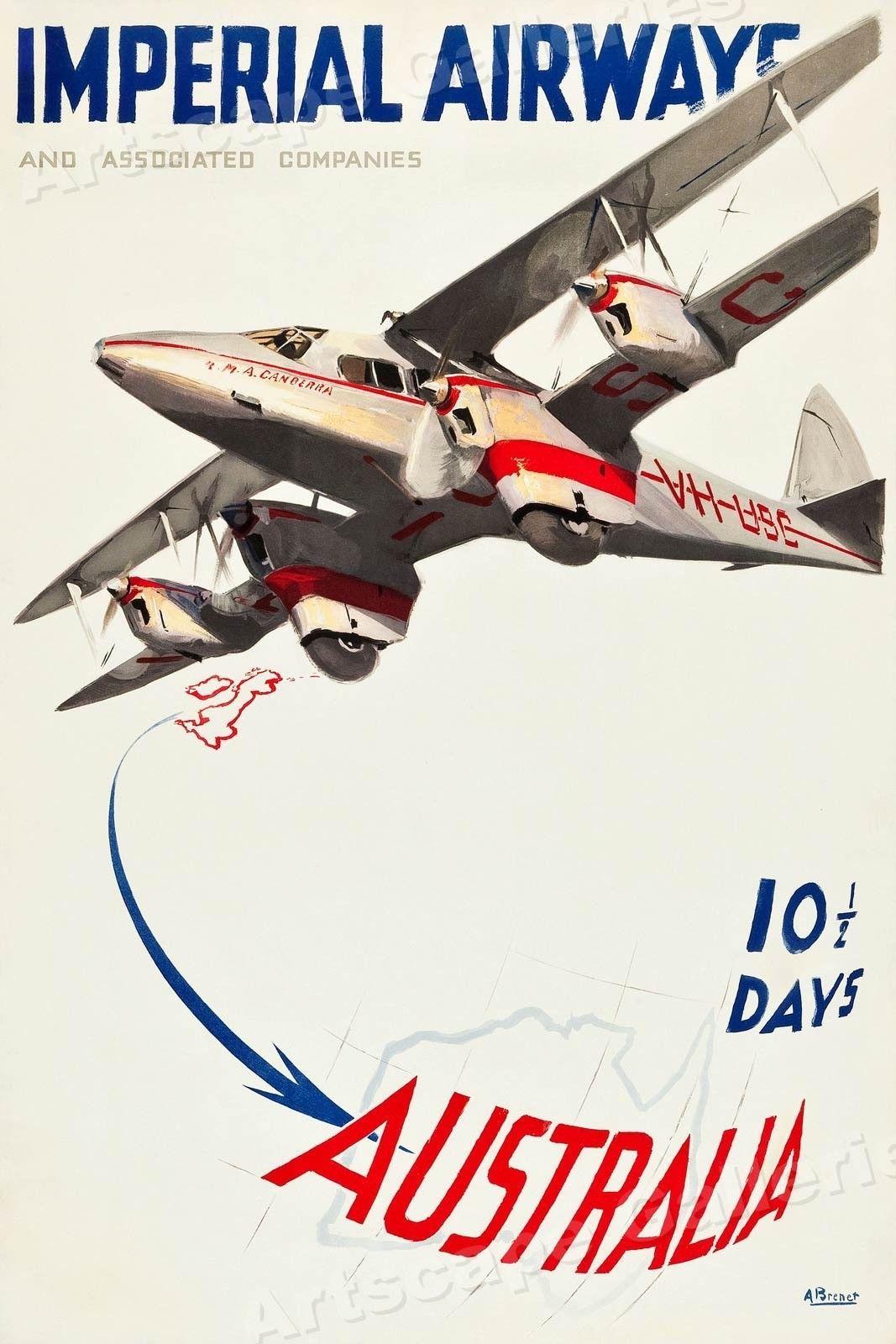 24x36 Imperial Airways 10 ½  Days to Australia 1935 Vintage Travel Poster