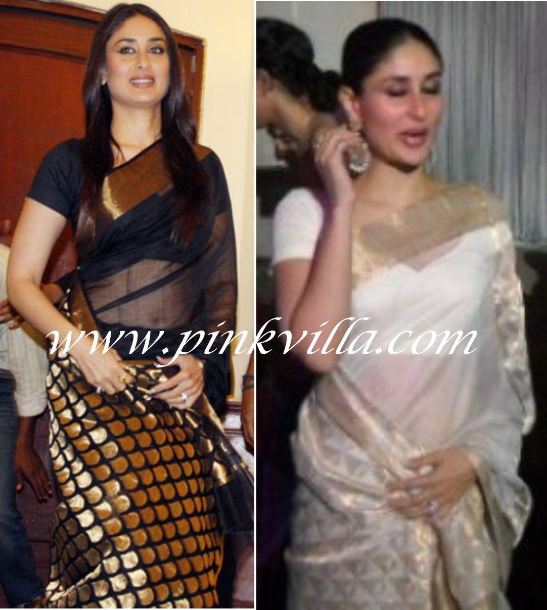 Kareena Kapoor In Black Or White Chanderi Saree?