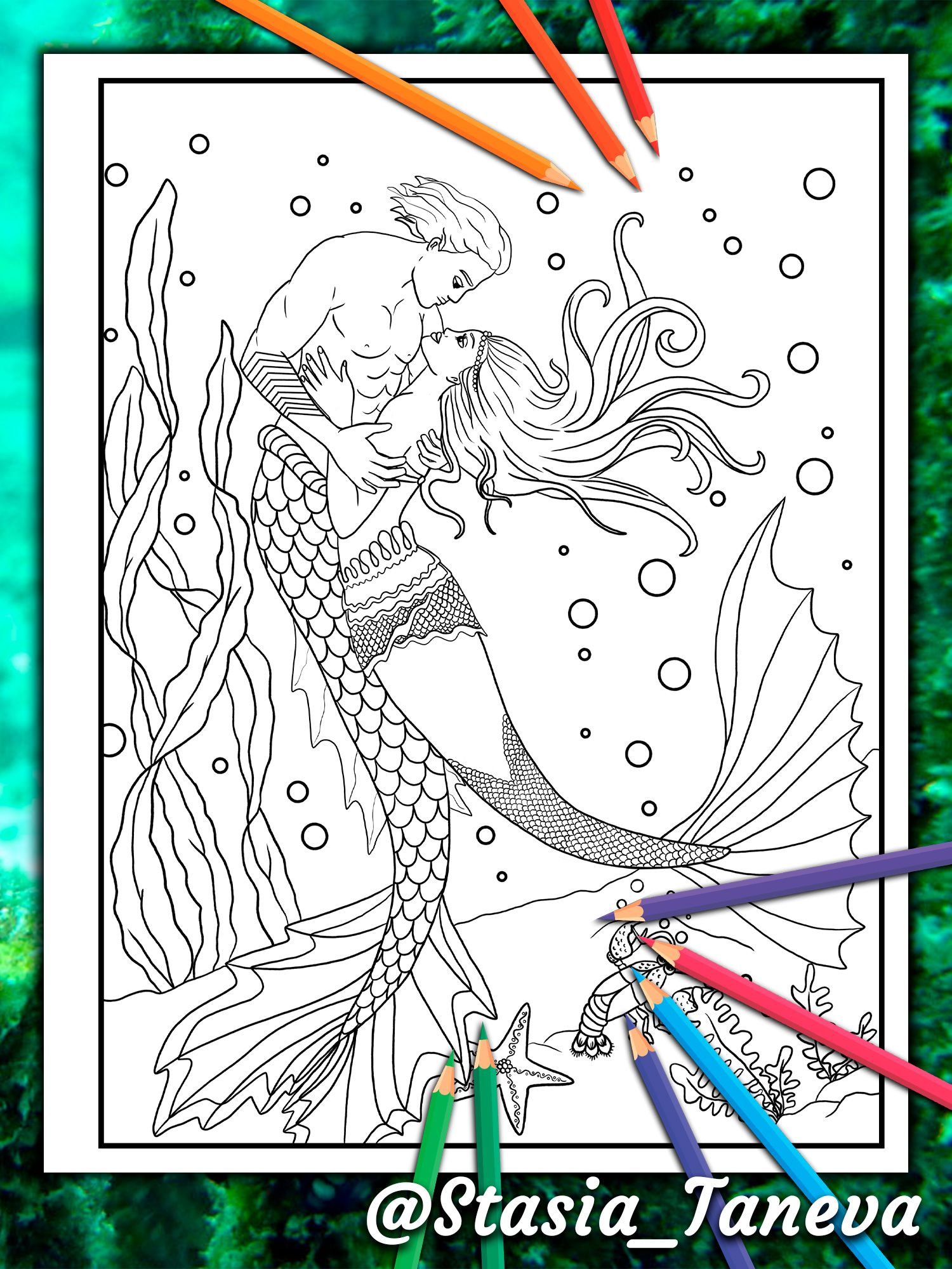 Loving Couple Of Mermaids In Each Other S Hot Embrace Mermaid Coloring Book For Adults By Page Mermaid Coloring Book Mermaid Coloring Pages Mermaid Coloring [ 2000 x 1500 Pixel ]
