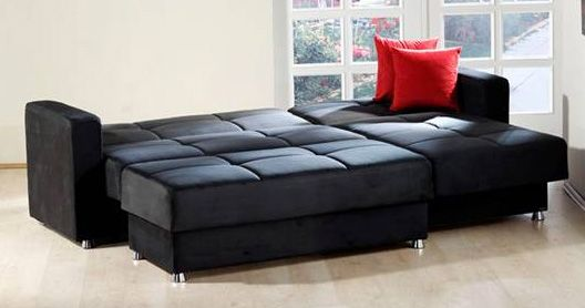 Elegant Rainbow Black Sectional Sofa By Sunset Favorite Convert A - Fina-leather-sofa-by-athomeusa